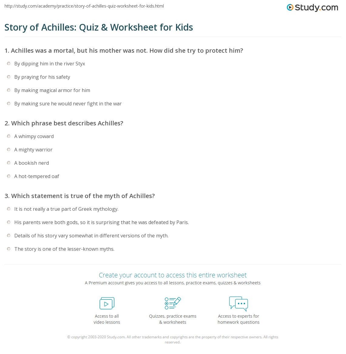 Story Of Achilles Quiz Amp Worksheet For Kids