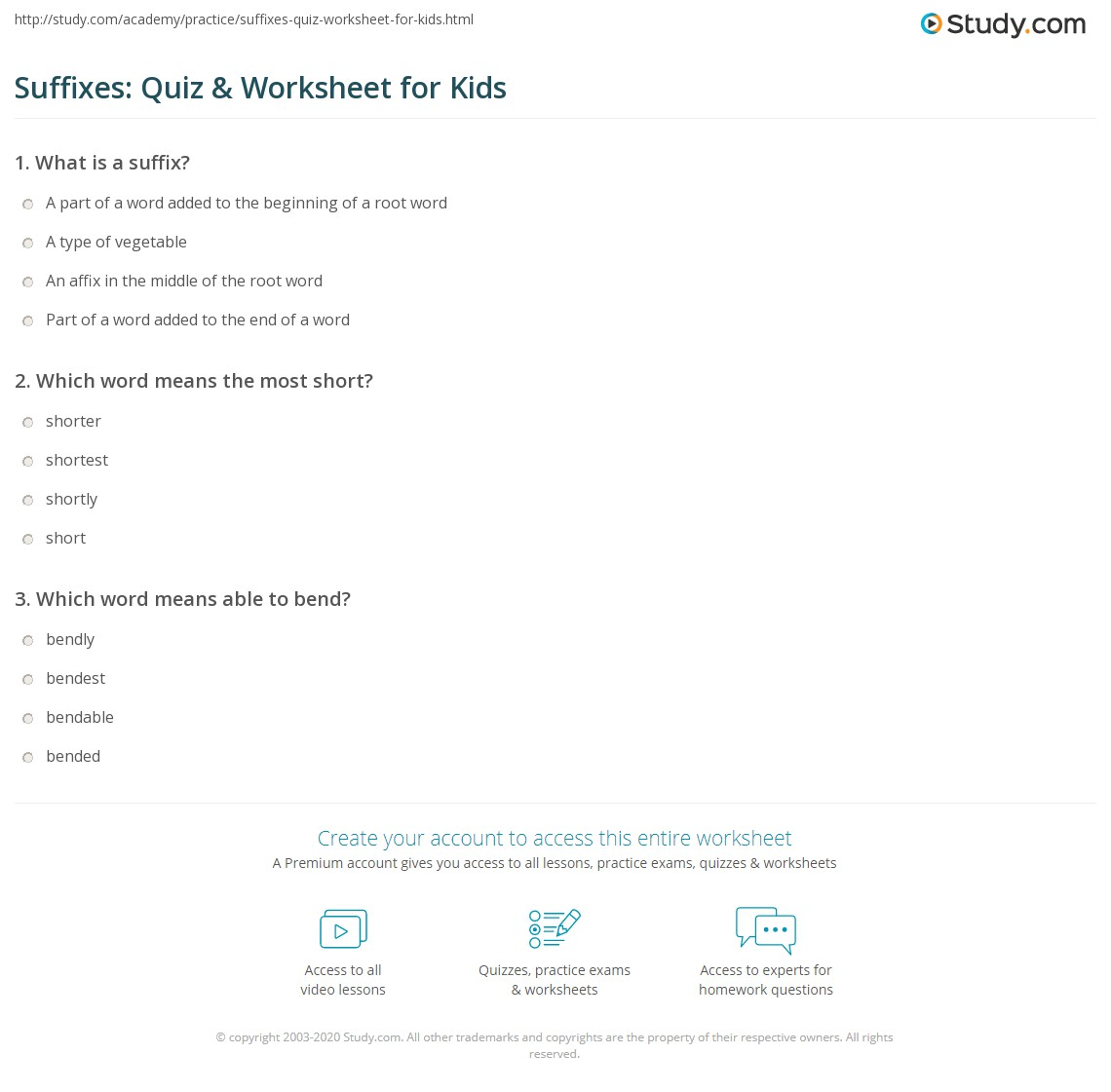 Suffixes Quiz Amp Worksheet For Kids