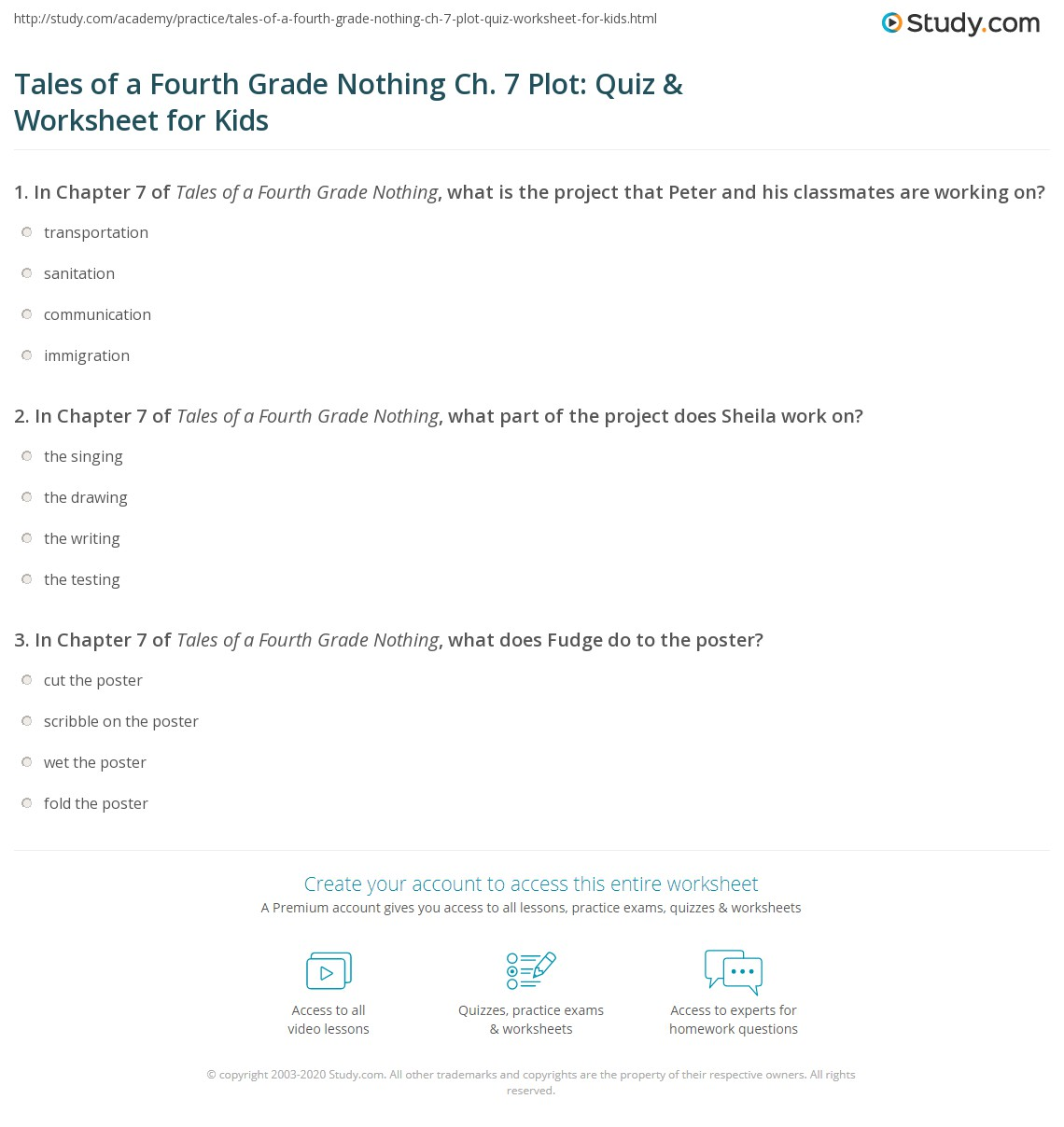 Tales Of A Fourth Grade Nothing Ch 7 Plot Quiz