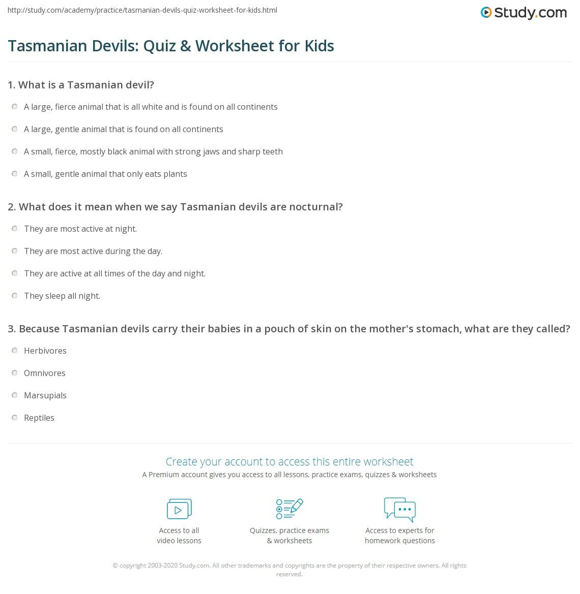 Tasmanian Devils Quiz Amp Worksheet For Kids
