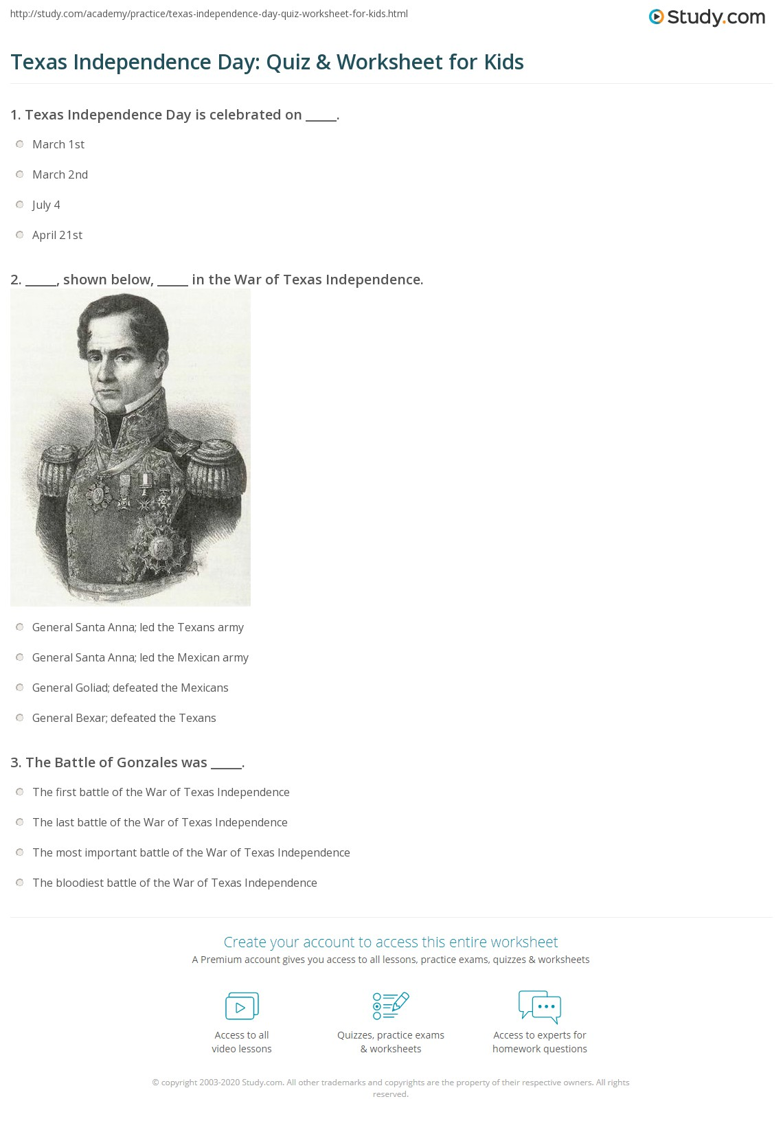 Texas Independence Day Quiz Amp Worksheet For Kids