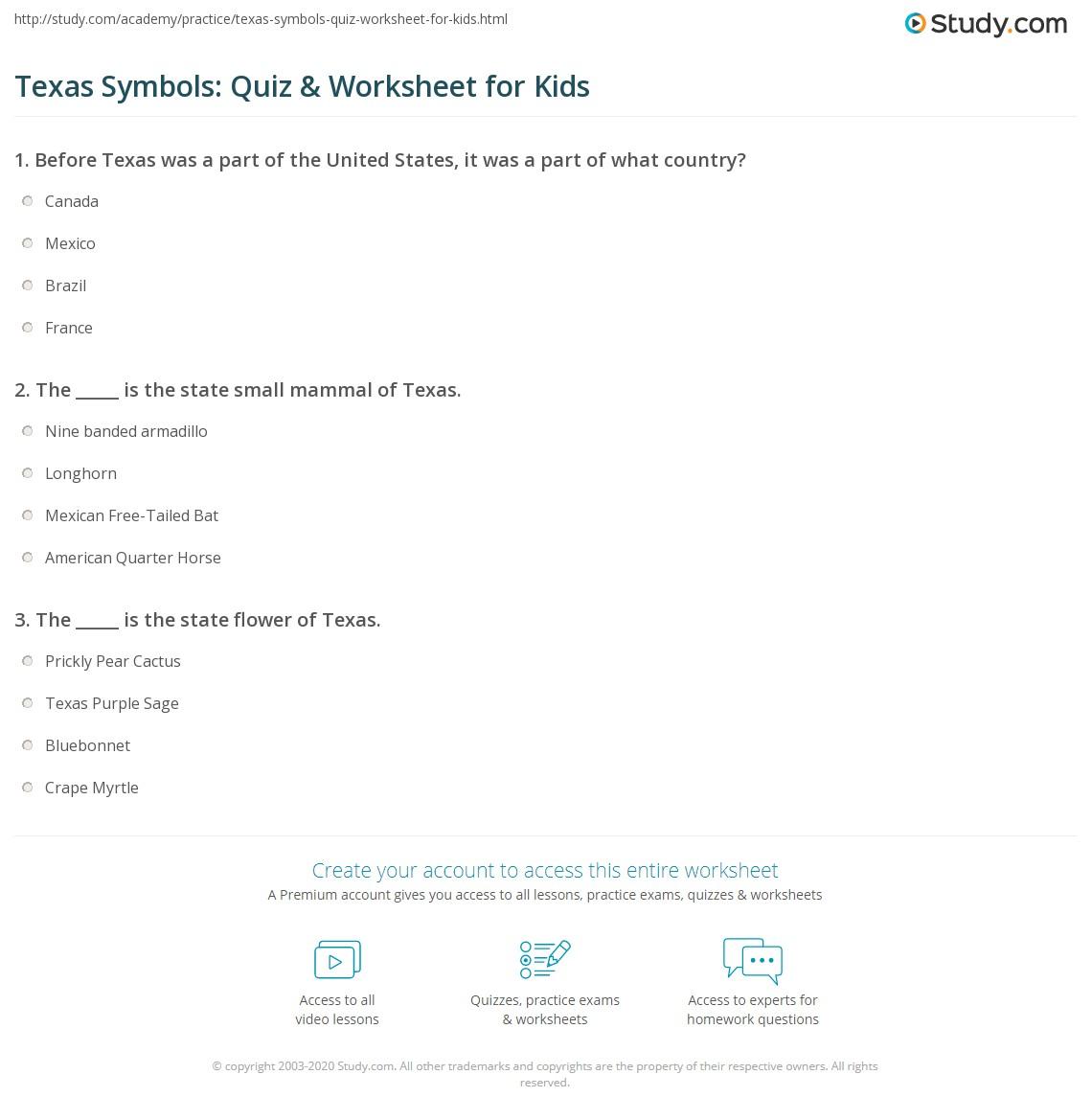 Texas Symbols Quiz Amp Worksheet For Kids