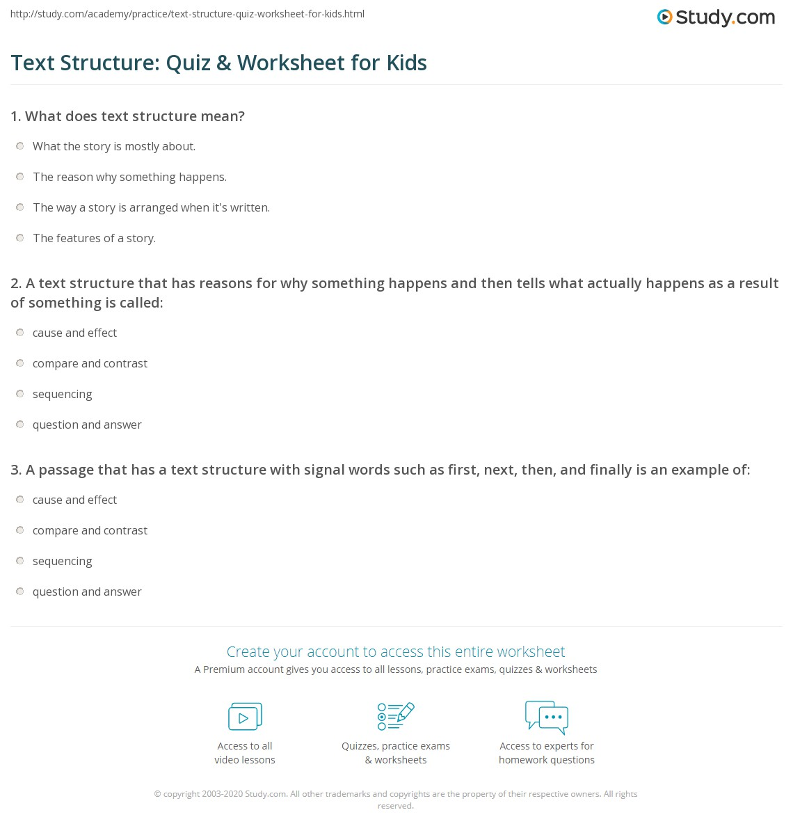 Text Structure Quiz Amp Worksheet For Kids