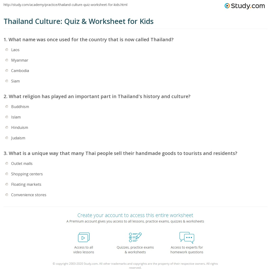 Thailand Culture Quiz Amp Worksheet For Kids