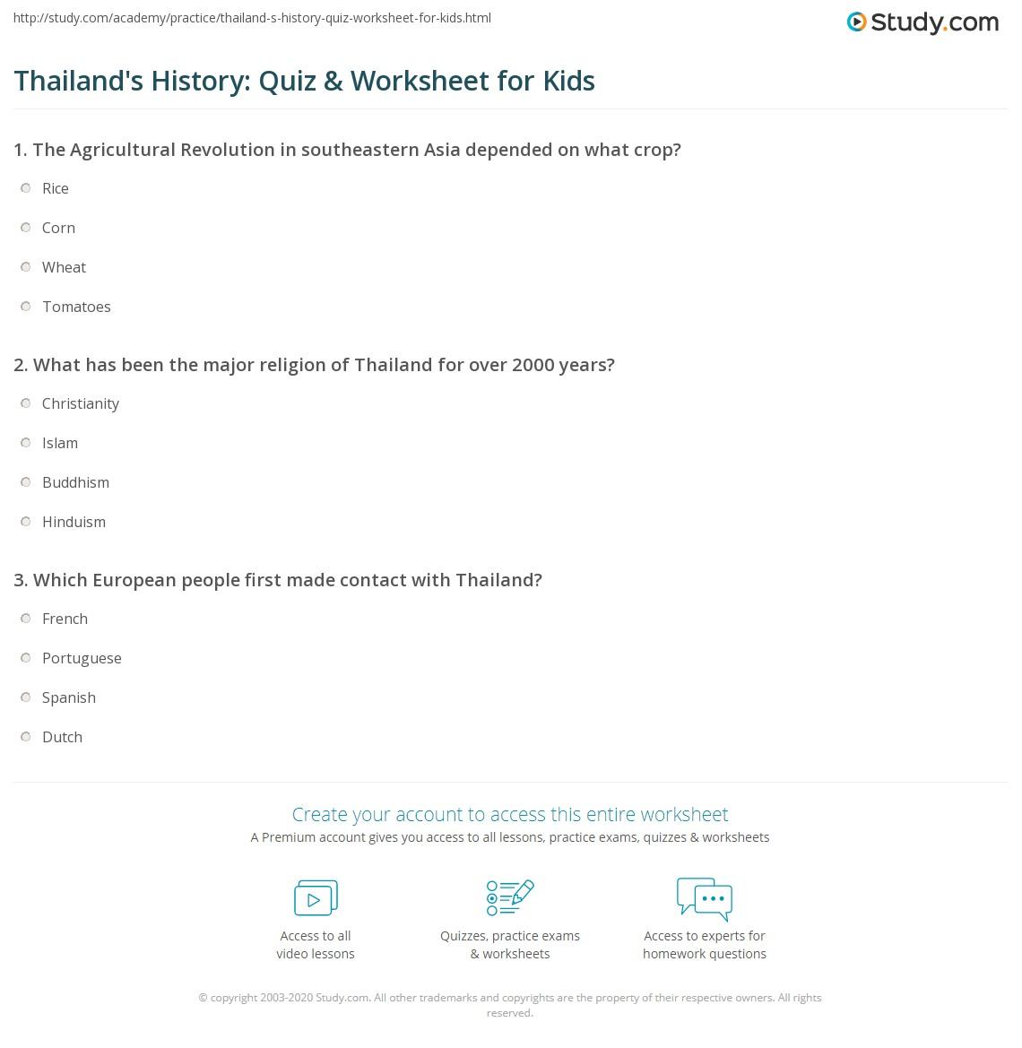 Thailand S History Quiz Amp Worksheet For Kids