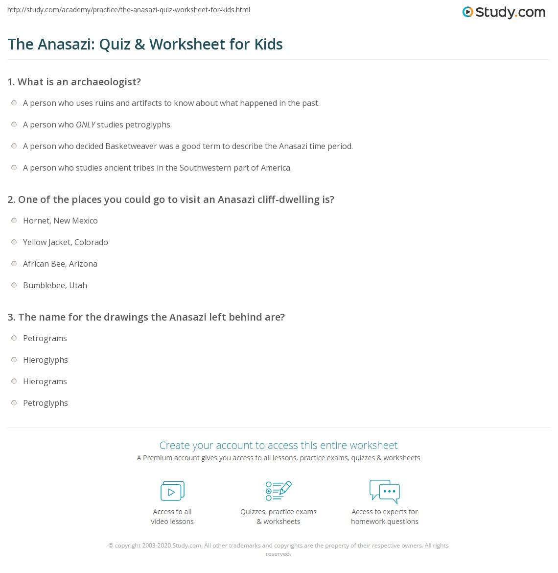 The Anasazi Quiz Amp Worksheet For Kids