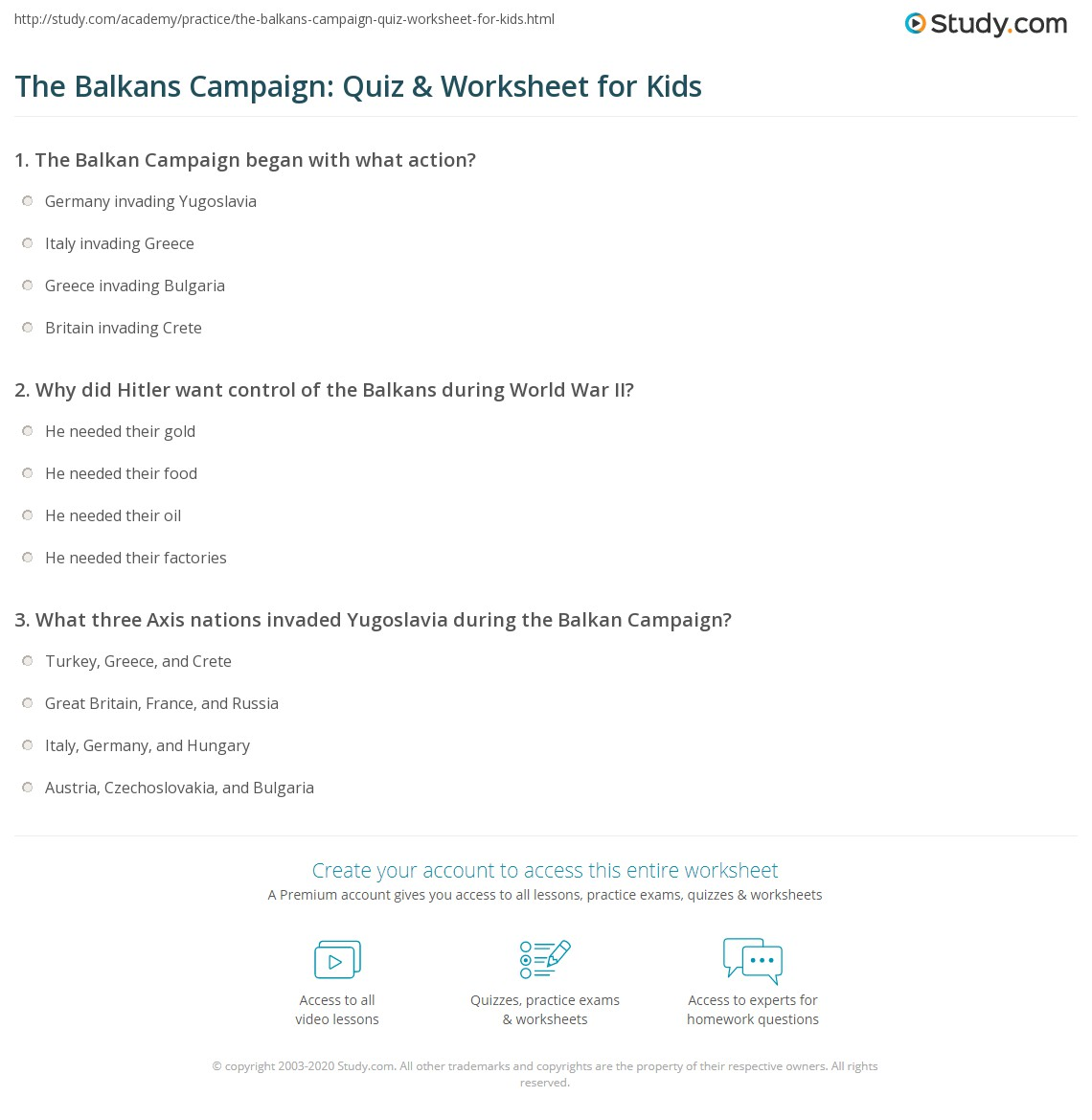The Balkans Campaign Quiz Amp Worksheet For Kids