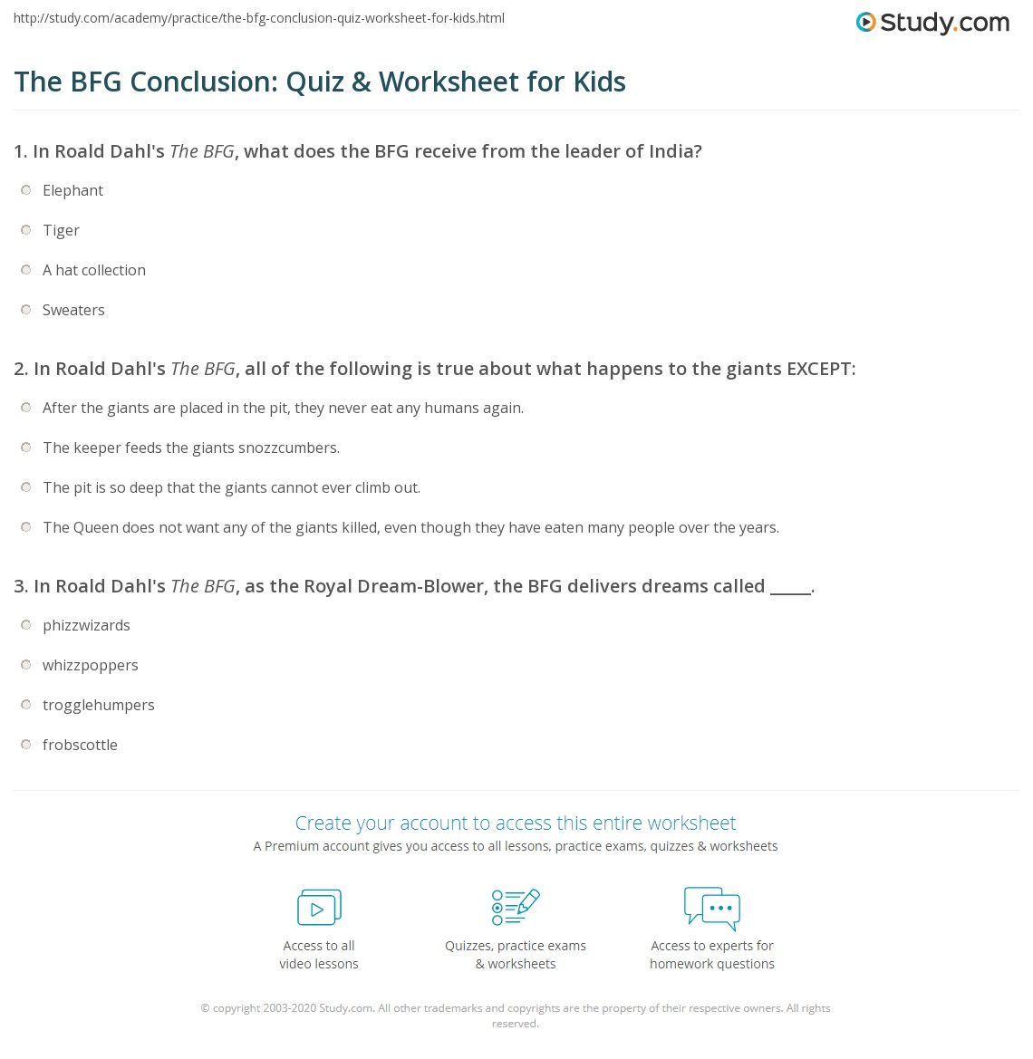The Bfg Conclusion Quiz Amp Worksheet For Kids