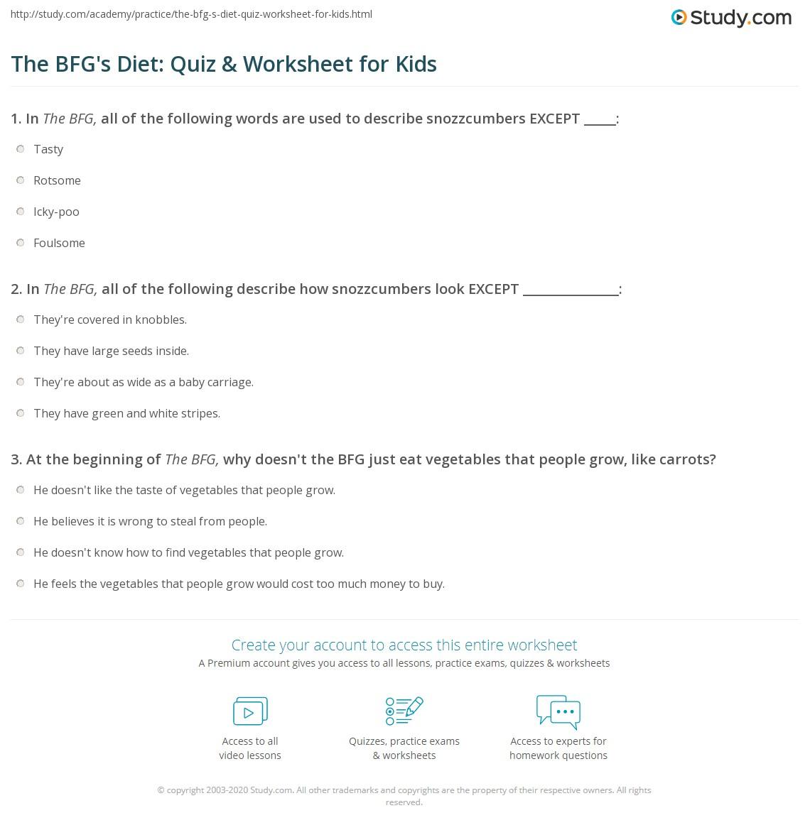 The Bfg St Quiz Amp Worksheet For Kids