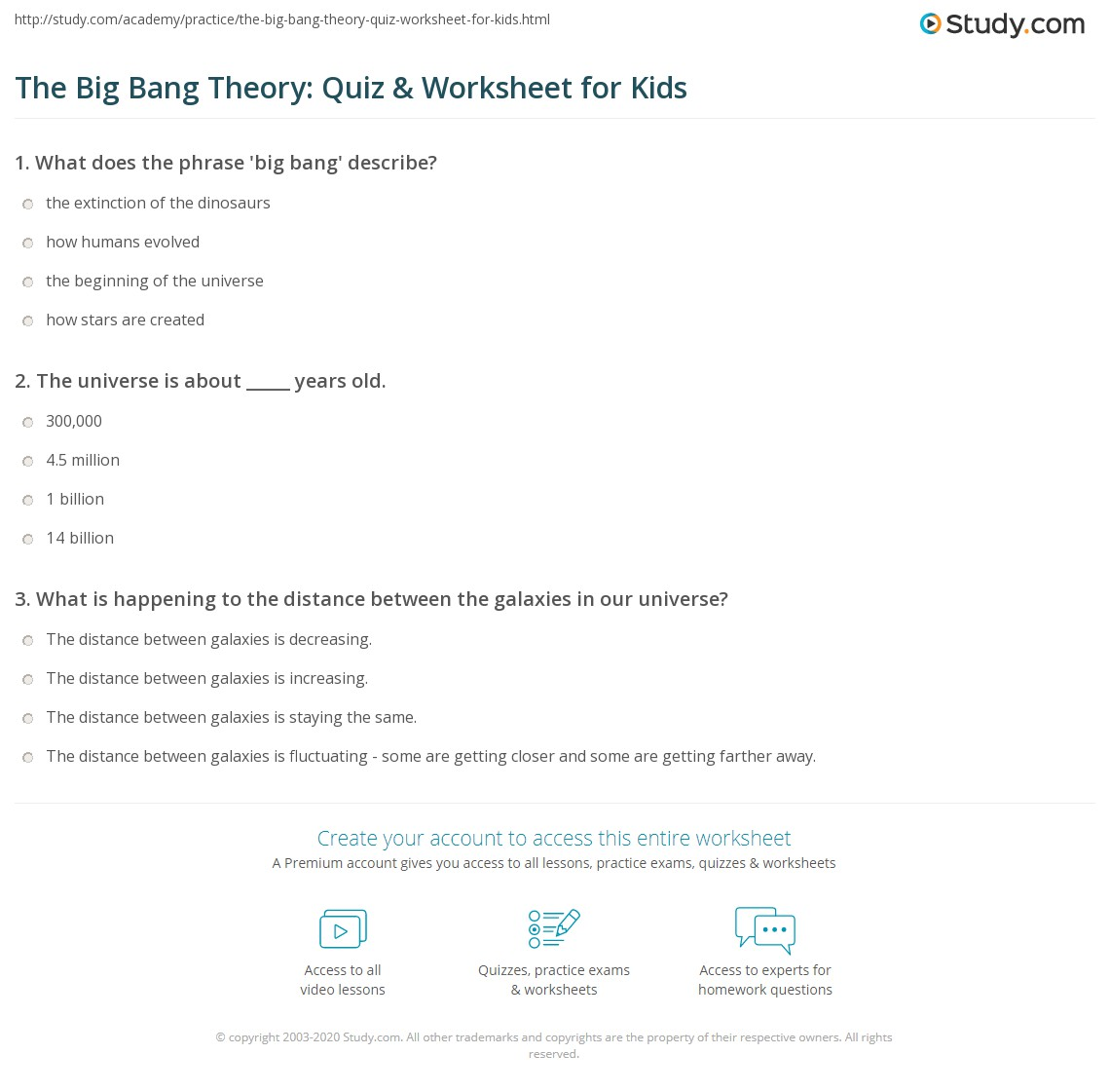 The Big Bang Theory Quiz Amp Worksheet For Kids