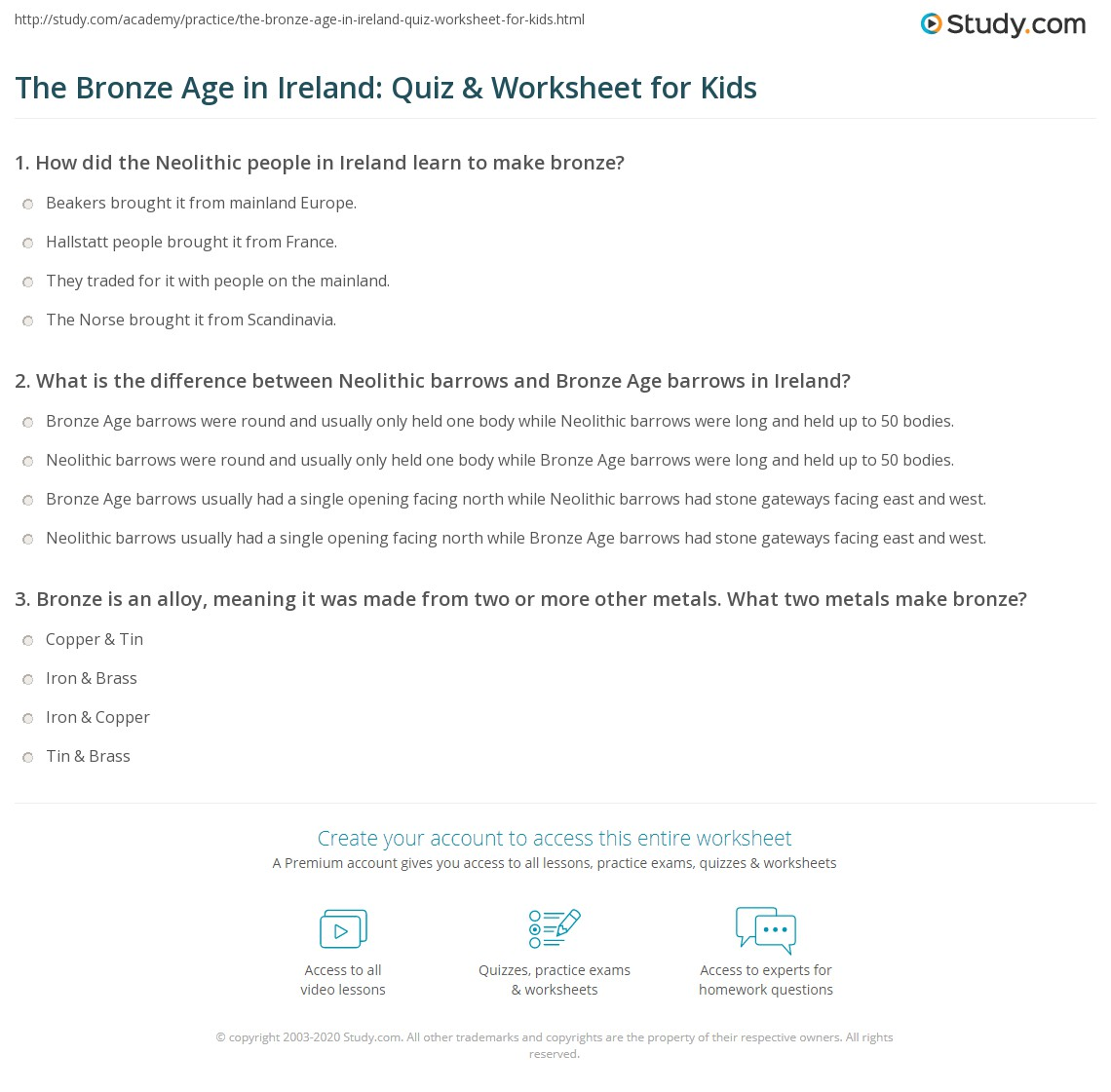 The Bronze Age In Ireland Quiz Amp Worksheet For Kids