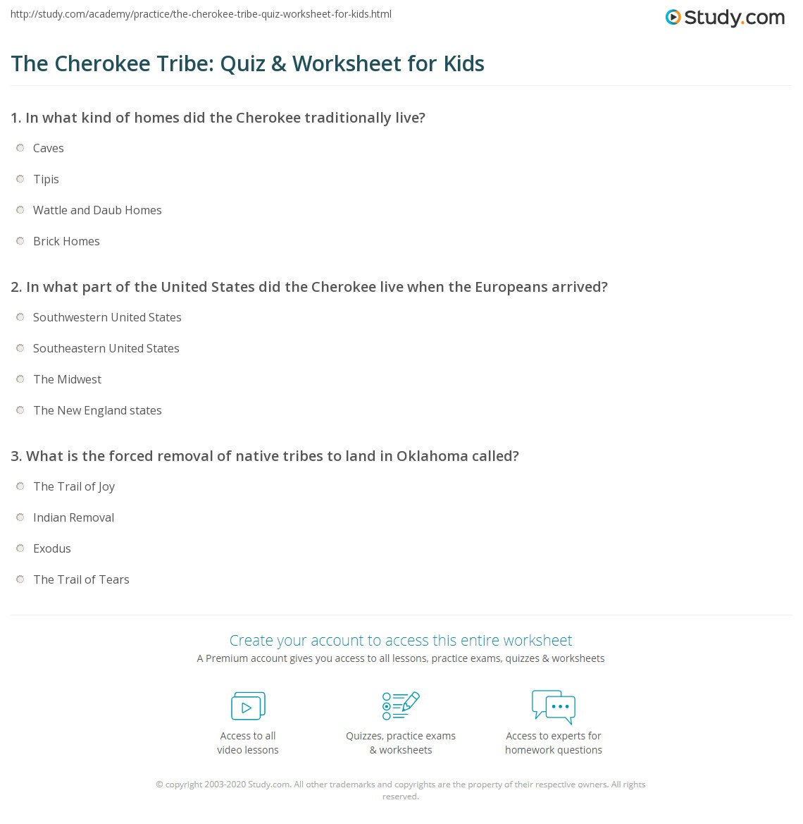 The Cherokee Tribe Quiz Amp Worksheet For Kids