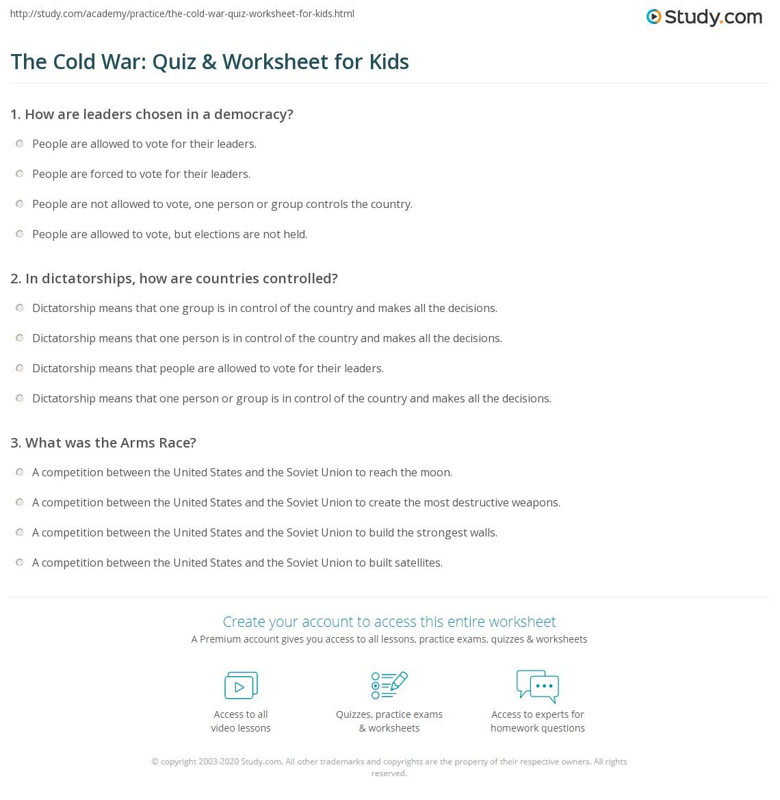The Cold War Quiz Amp Worksheet For Kids