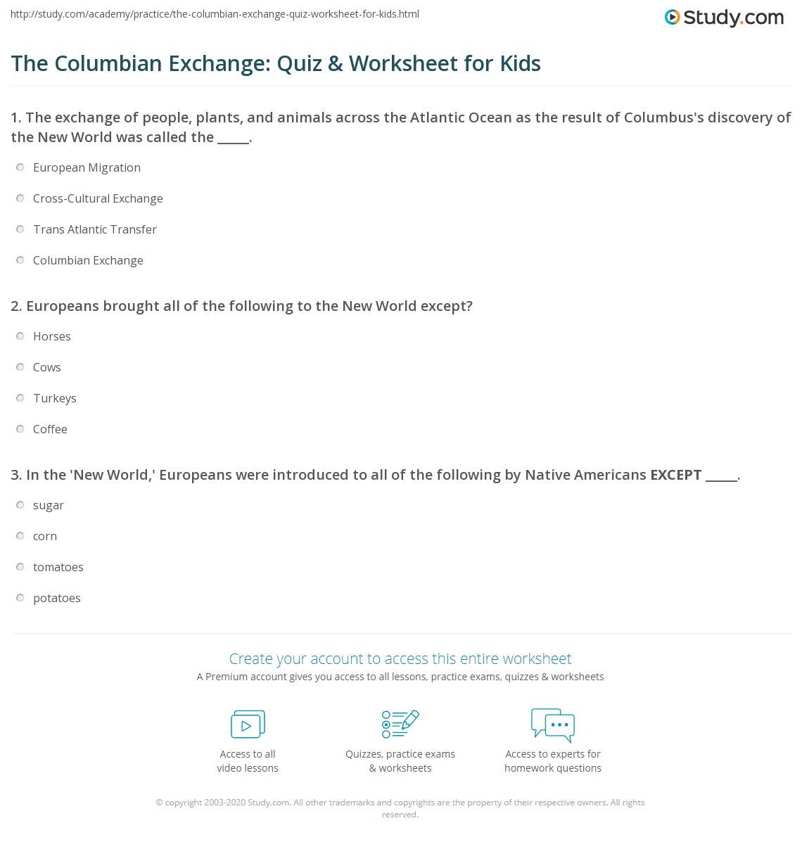 The Columbian Exchange Quiz Amp Worksheet For Kids
