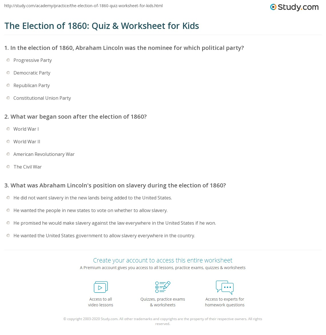 The Election Of Quiz Amp Worksheet For Kids