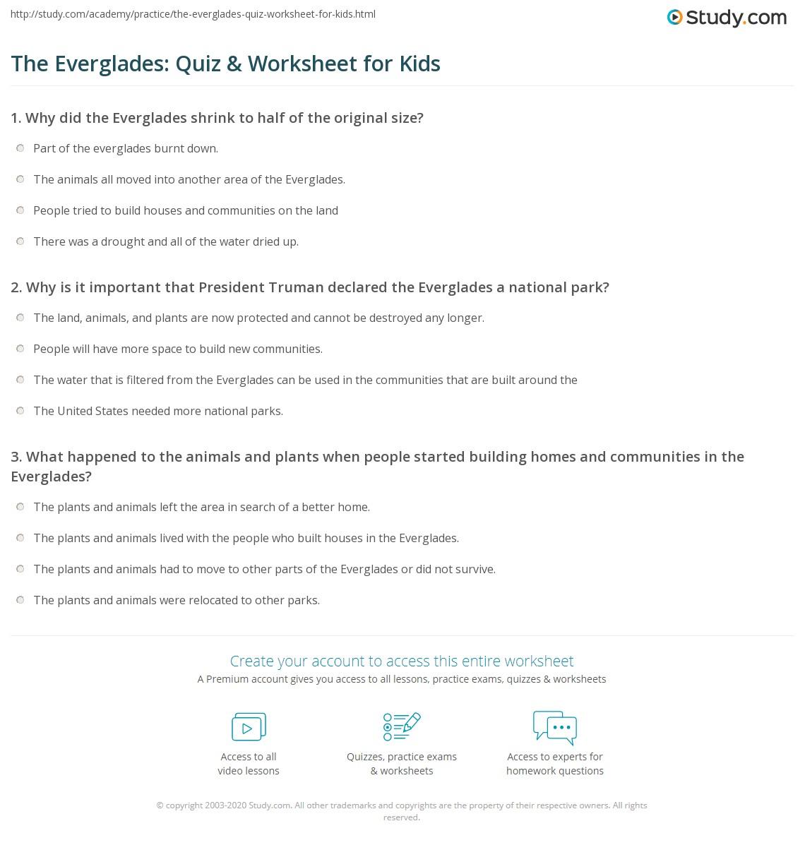 The Everglades Quiz Amp Worksheet For Kids