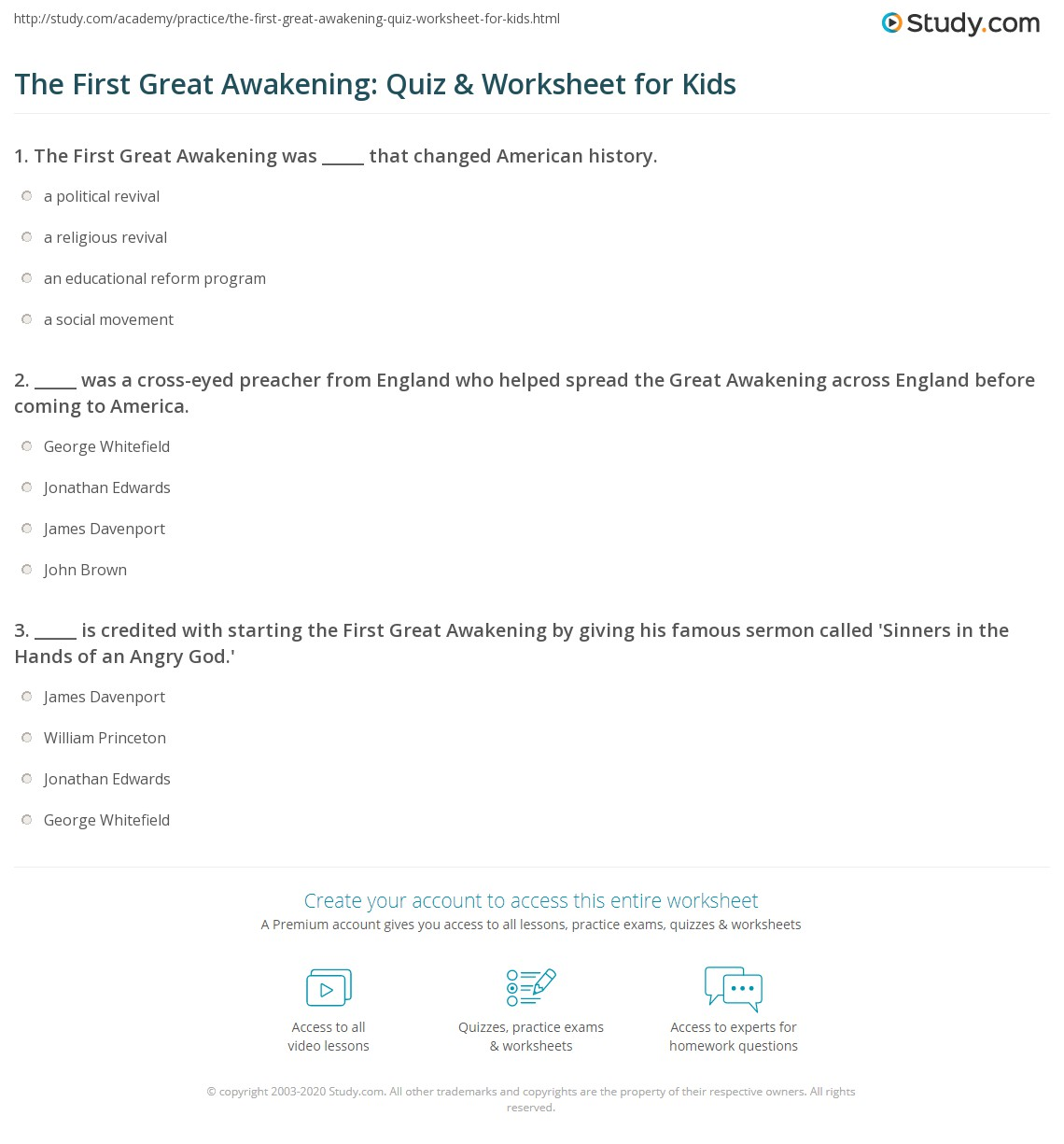 The First Great Awakening Quiz Amp Worksheet For Kids