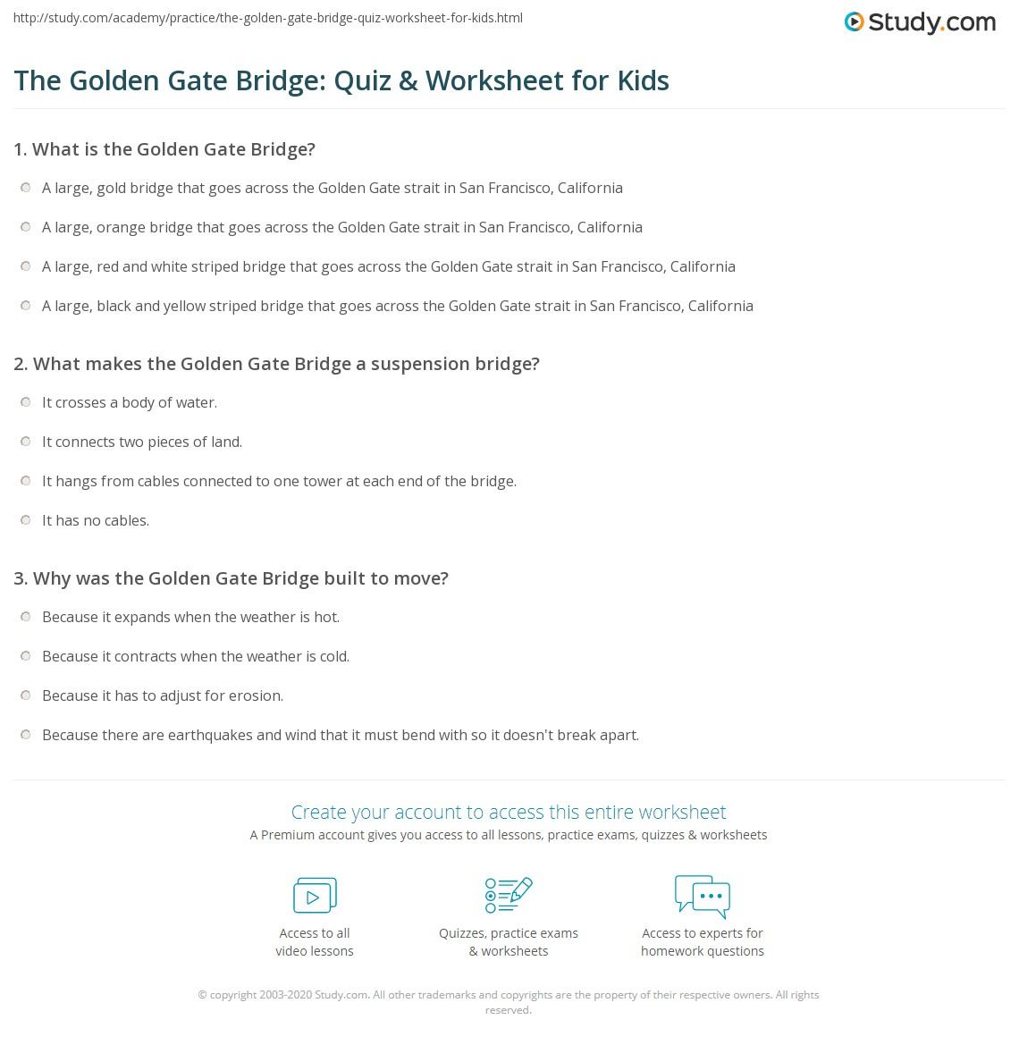 The Golden Gate Bridge Quiz Amp Worksheet For Kids