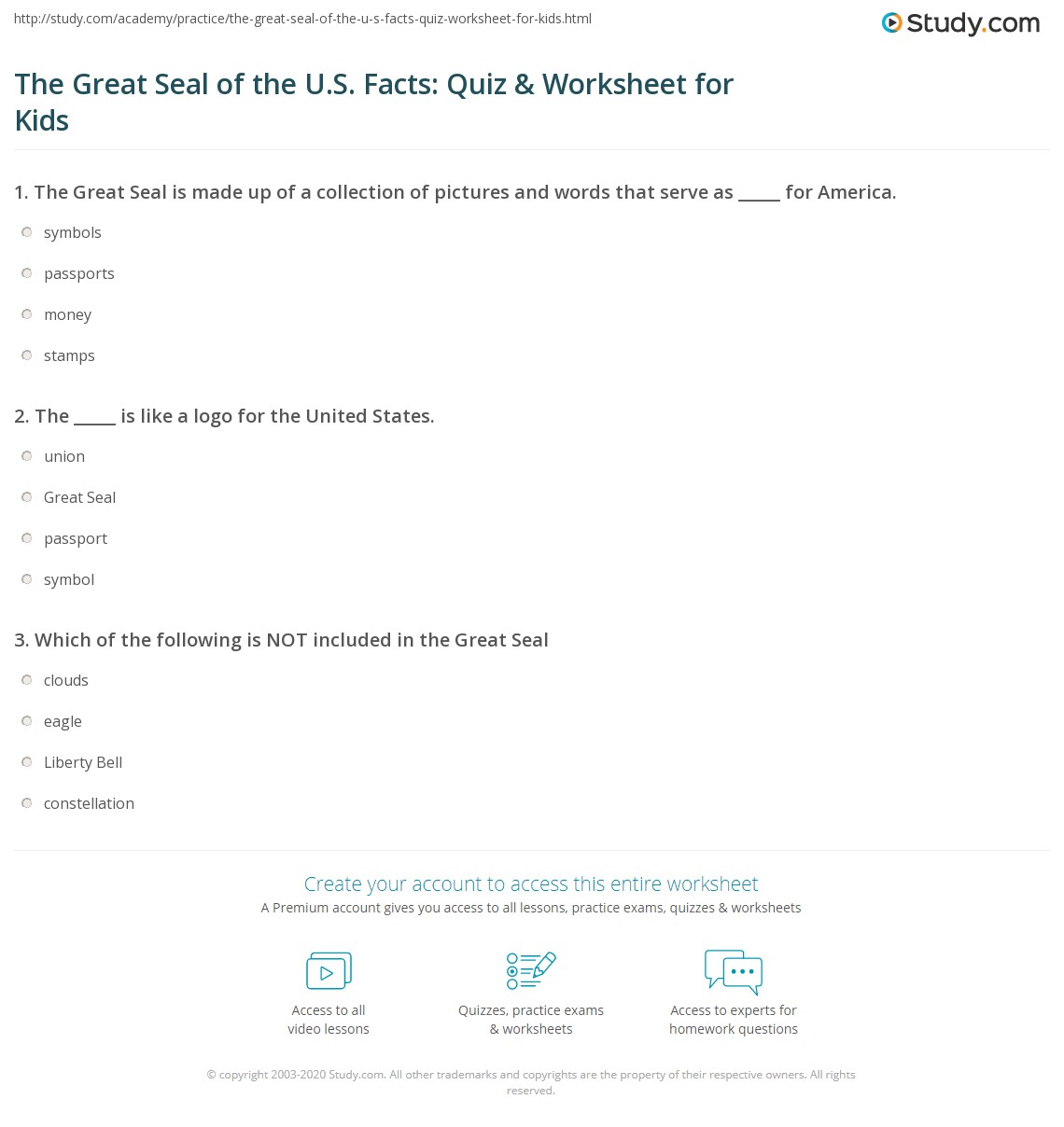 The Great Seal Of The U S Facts Quiz Amp Worksheet For