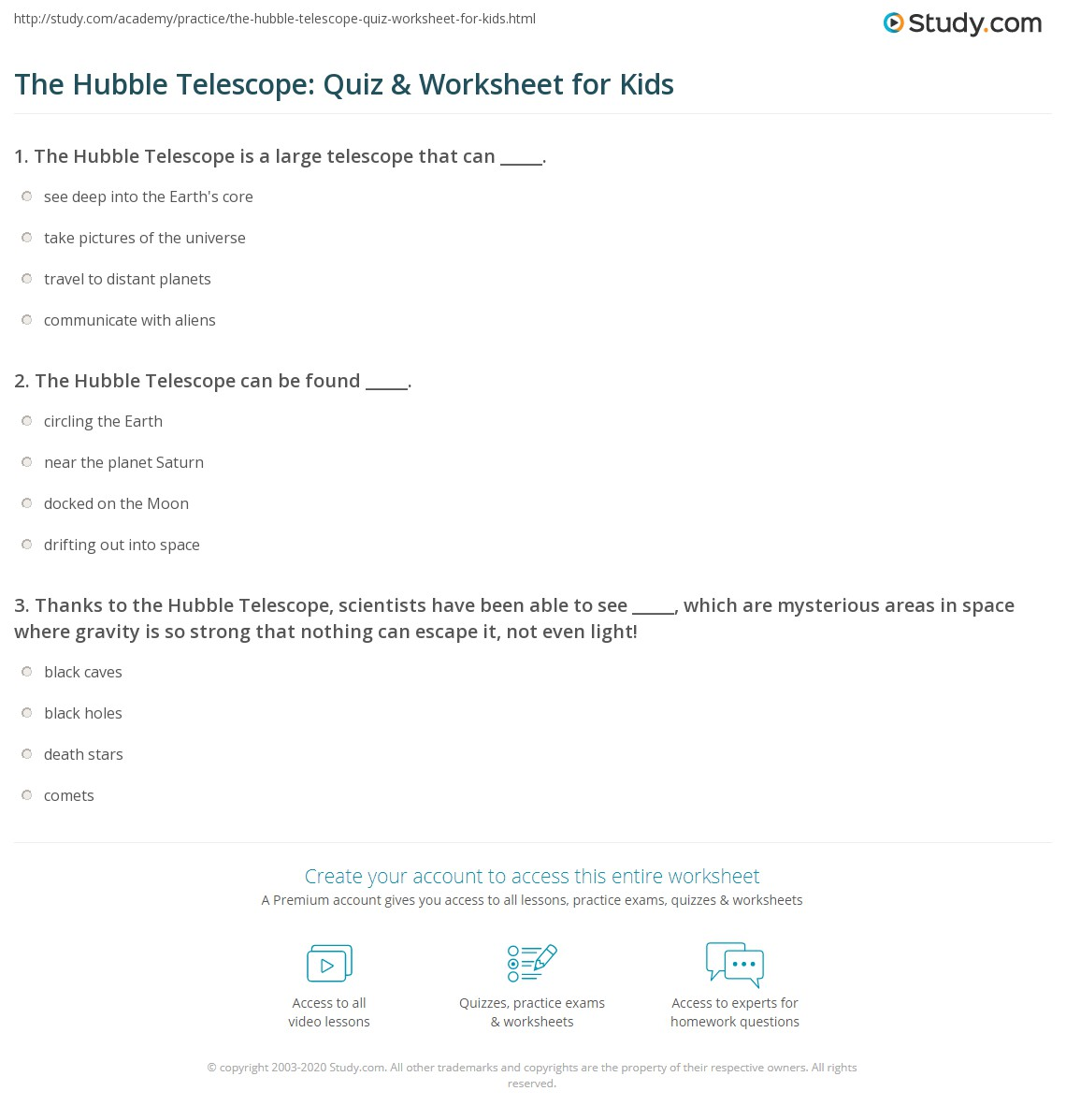 The Hubble Telescope Quiz Amp Worksheet For Kids