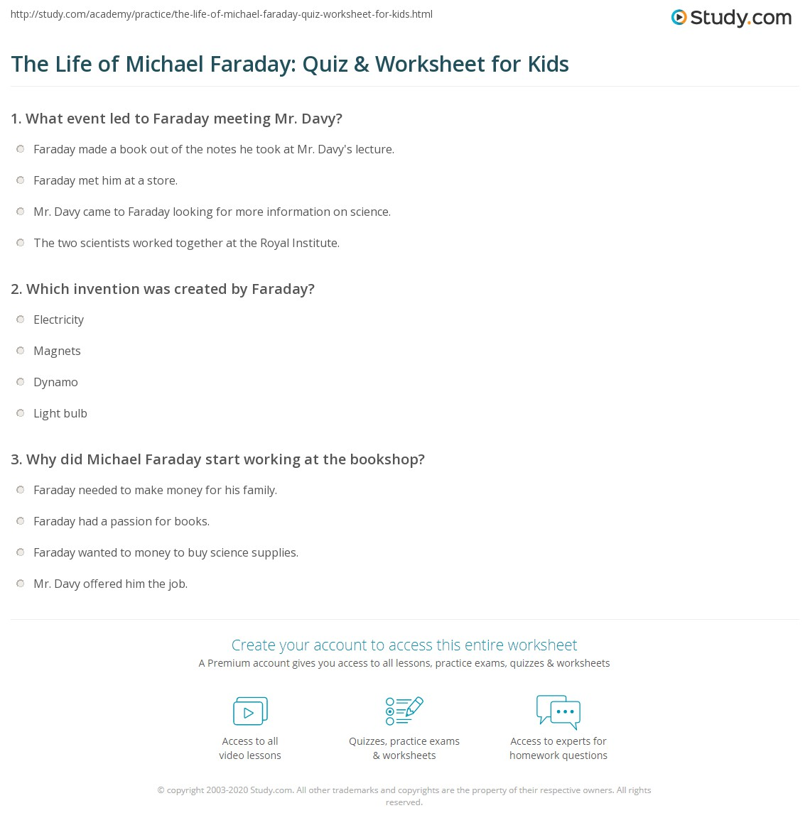 The Life Of Michael Faraday Quiz Amp Worksheet For Kids