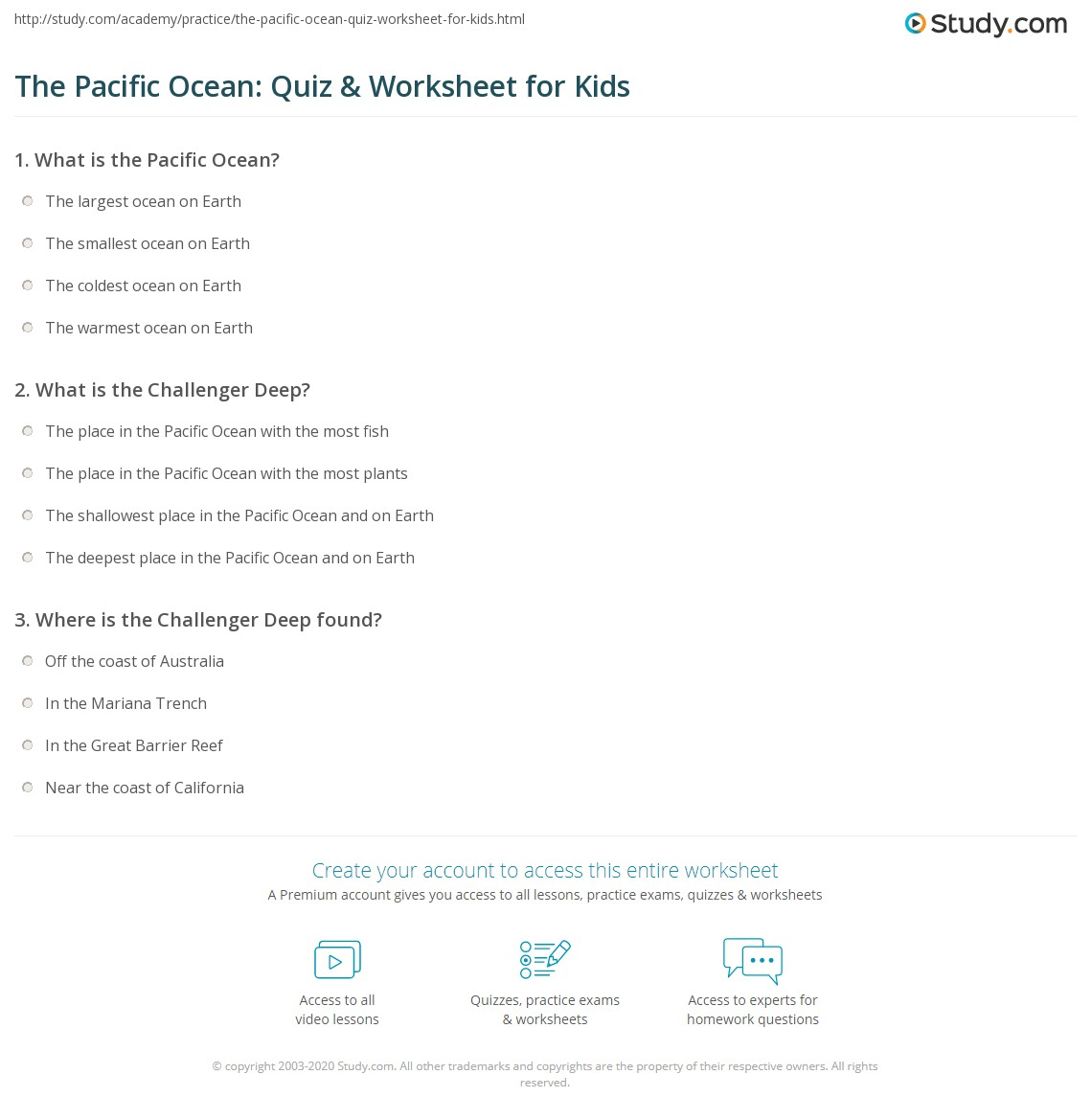 The Pacific Ocean Quiz Amp Worksheet For Kids