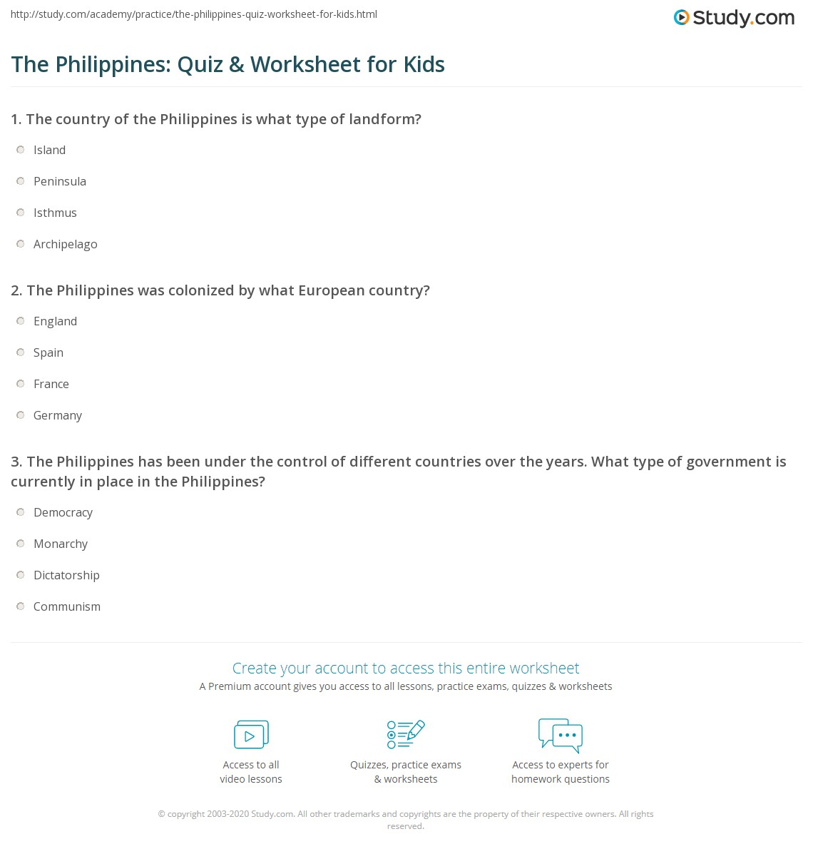 The Philippines Quiz Amp Worksheet For Kids