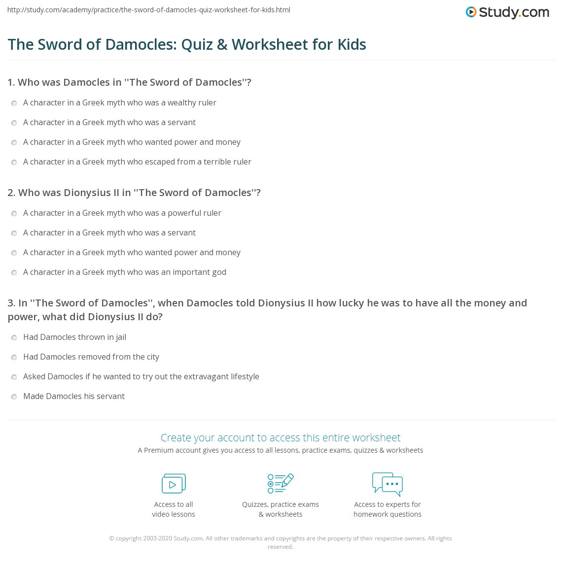 The Sword Of Damocles Quiz Amp Worksheet For Kids