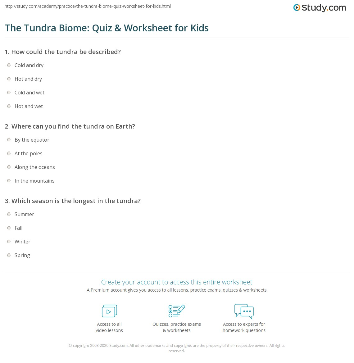 The Tundra Biome Quiz Amp Worksheet For Kids