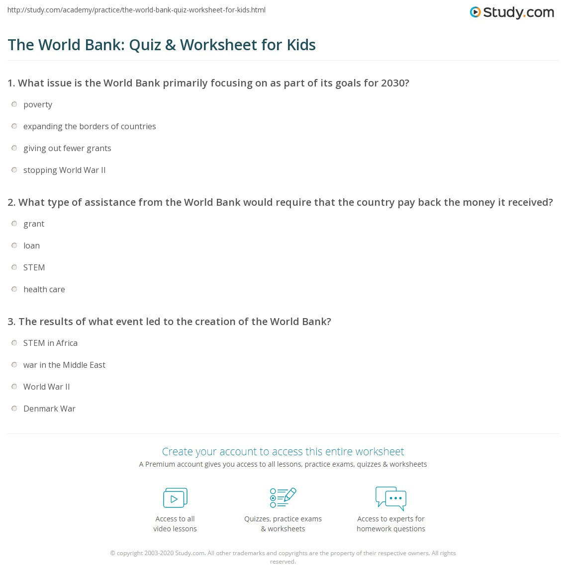 The World Bank Quiz Amp Worksheet For Kids