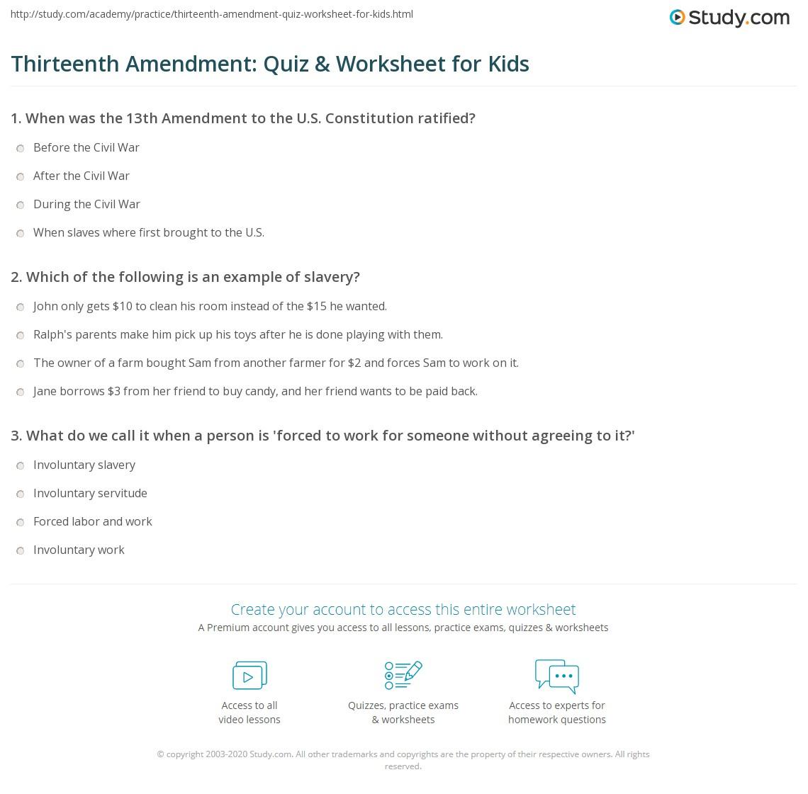 Thirteenth Amendment Quiz Amp Worksheet For Kids