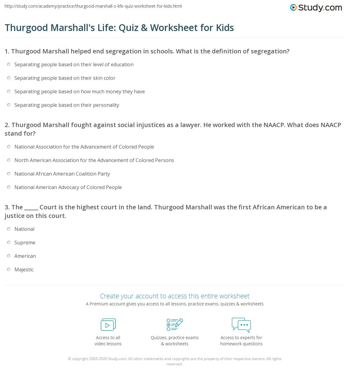 Thurgood Marshall S Life Quiz Amp Worksheet For Kids