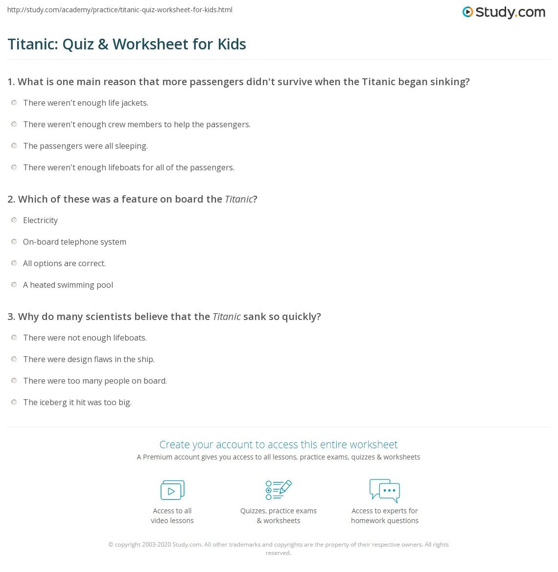 Titanic Quiz Amp Worksheet For Kids