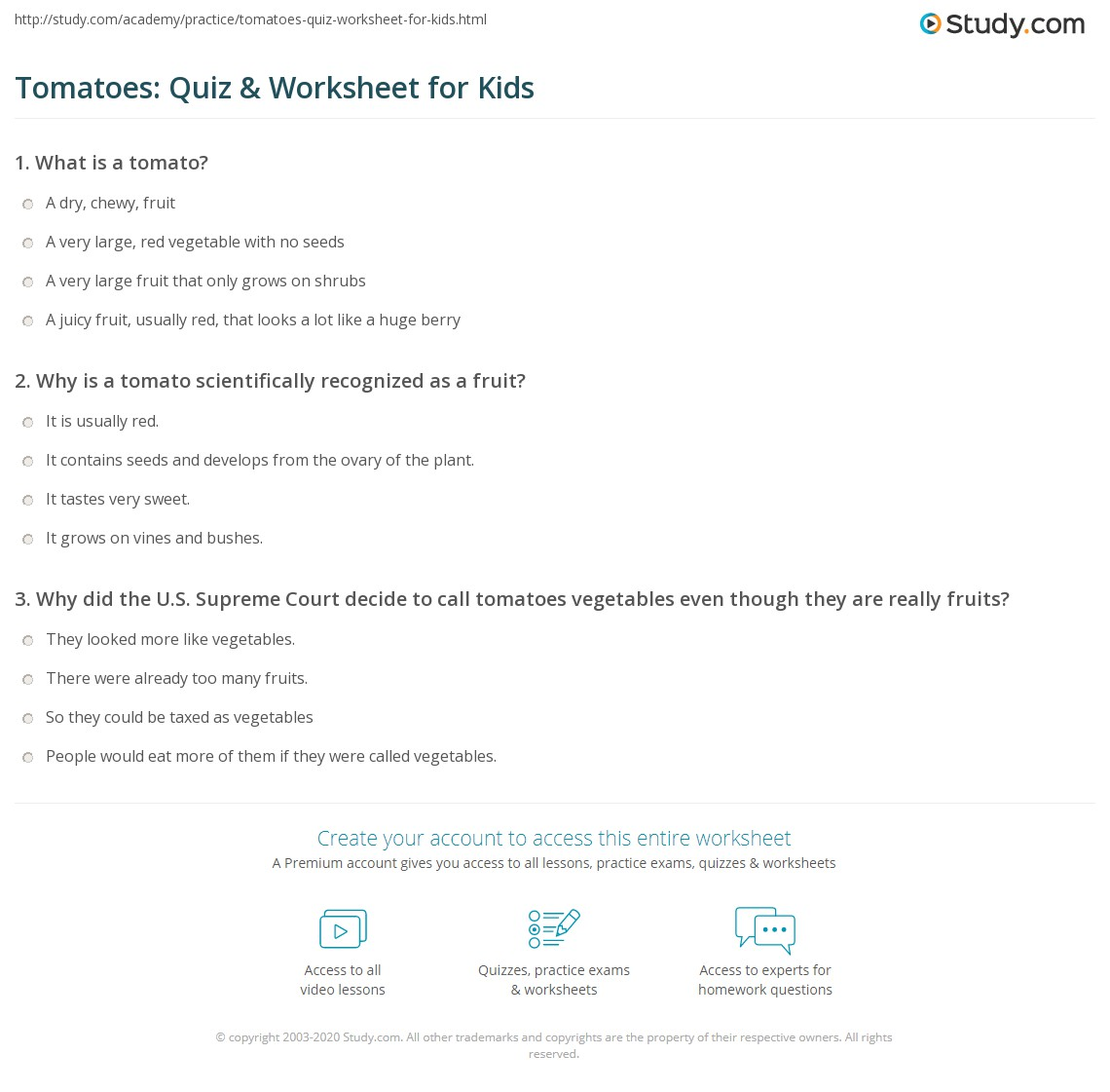 Tomatoes Quiz Amp Worksheet For Kids