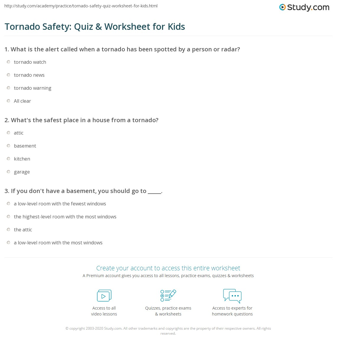 Tornado Safety Quiz Amp Worksheet For Kids