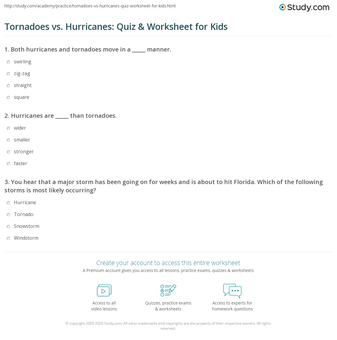 Tornadoes Vs Hurricanes Quiz Amp Worksheet For Kids