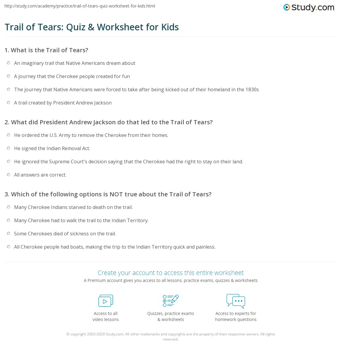 Trail Of Tears Quiz Amp Worksheet For Kids
