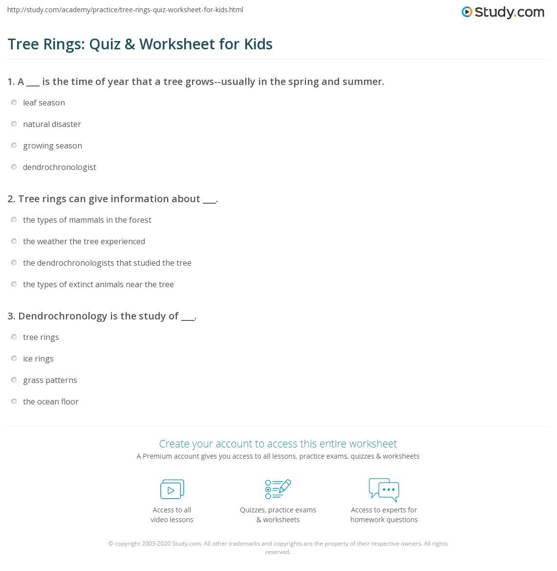 Tree Rings Quiz Amp Worksheet For Kids