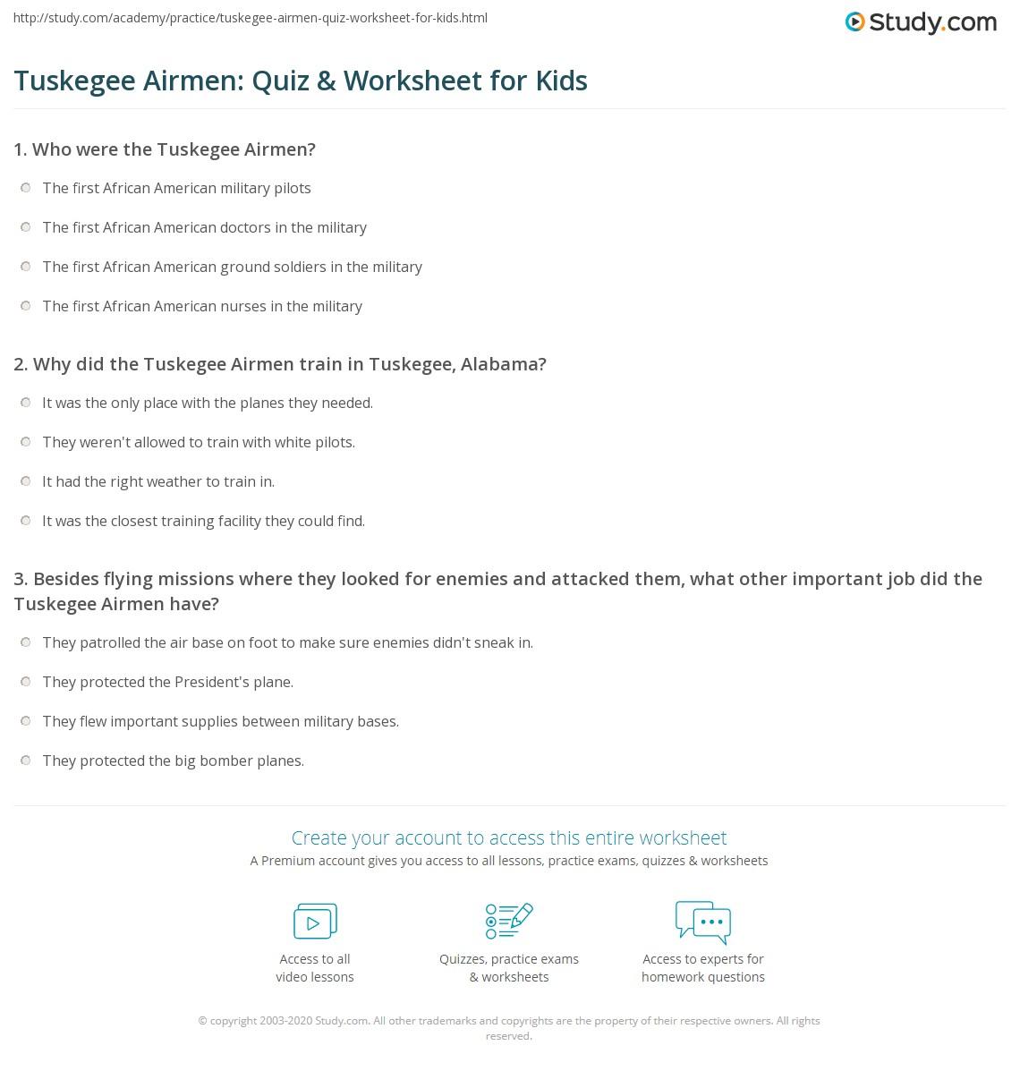 Tuskegee Airmen Quiz Amp Worksheet For Kids
