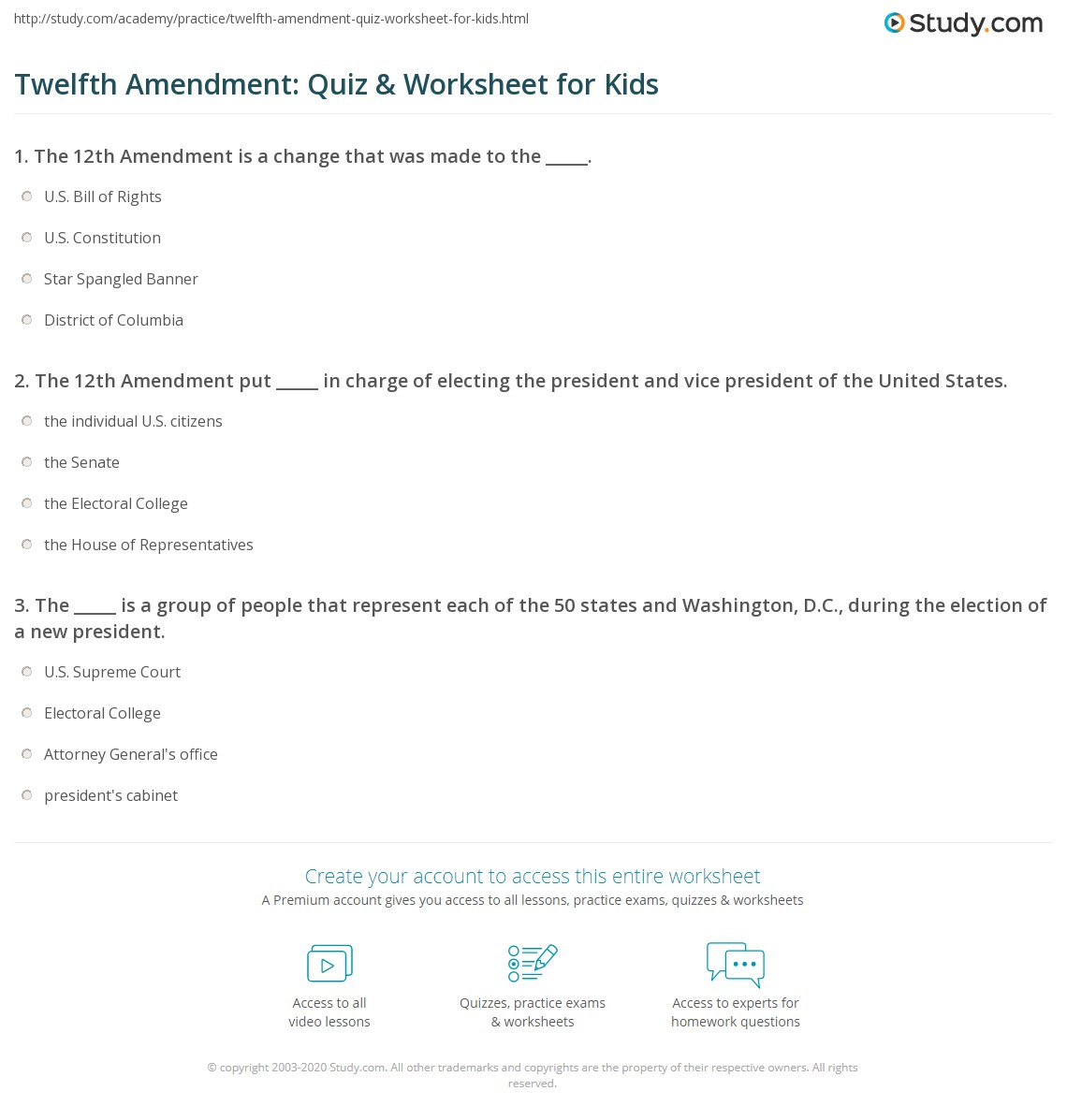 Twelfth Amendment Quiz Amp Worksheet For Kids
