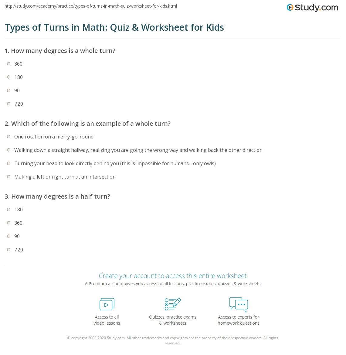 Types Of Turns In Math Quiz Amp Worksheet For Kids