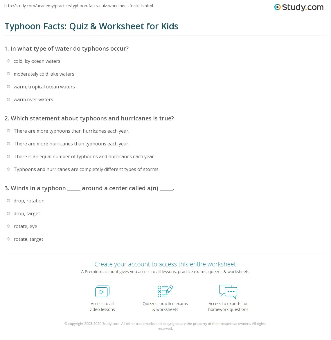 Typhoon Facts Quiz Amp Worksheet For Kids