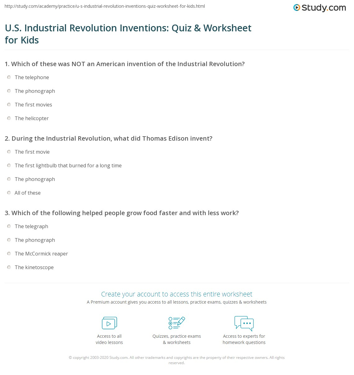 U S Industrial Revolution Inventions Quiz Amp Worksheet