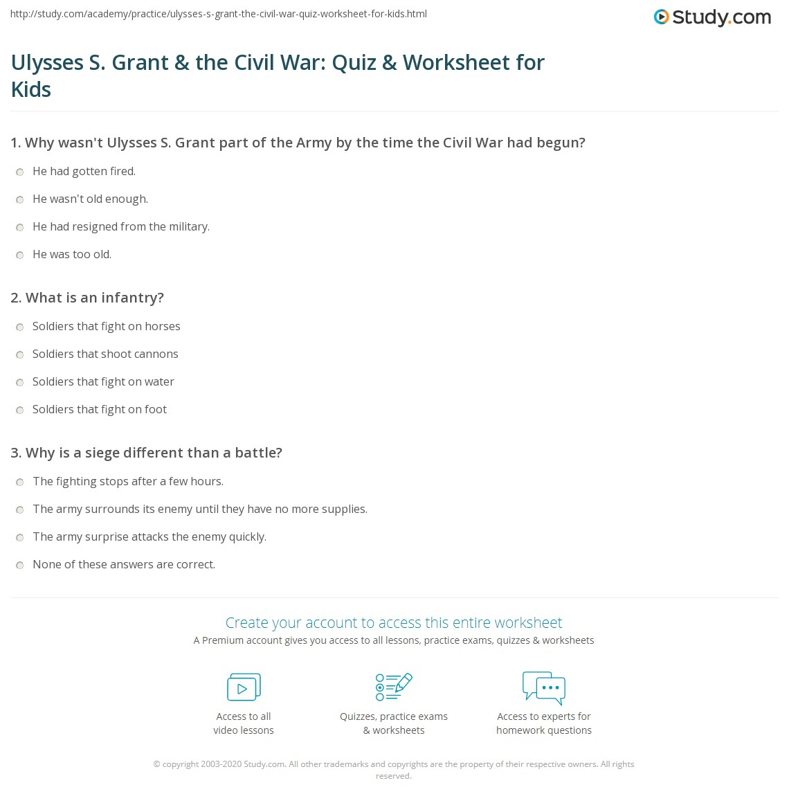 Ulysses S Grant Amp The Civil War Quiz Amp Worksheet For