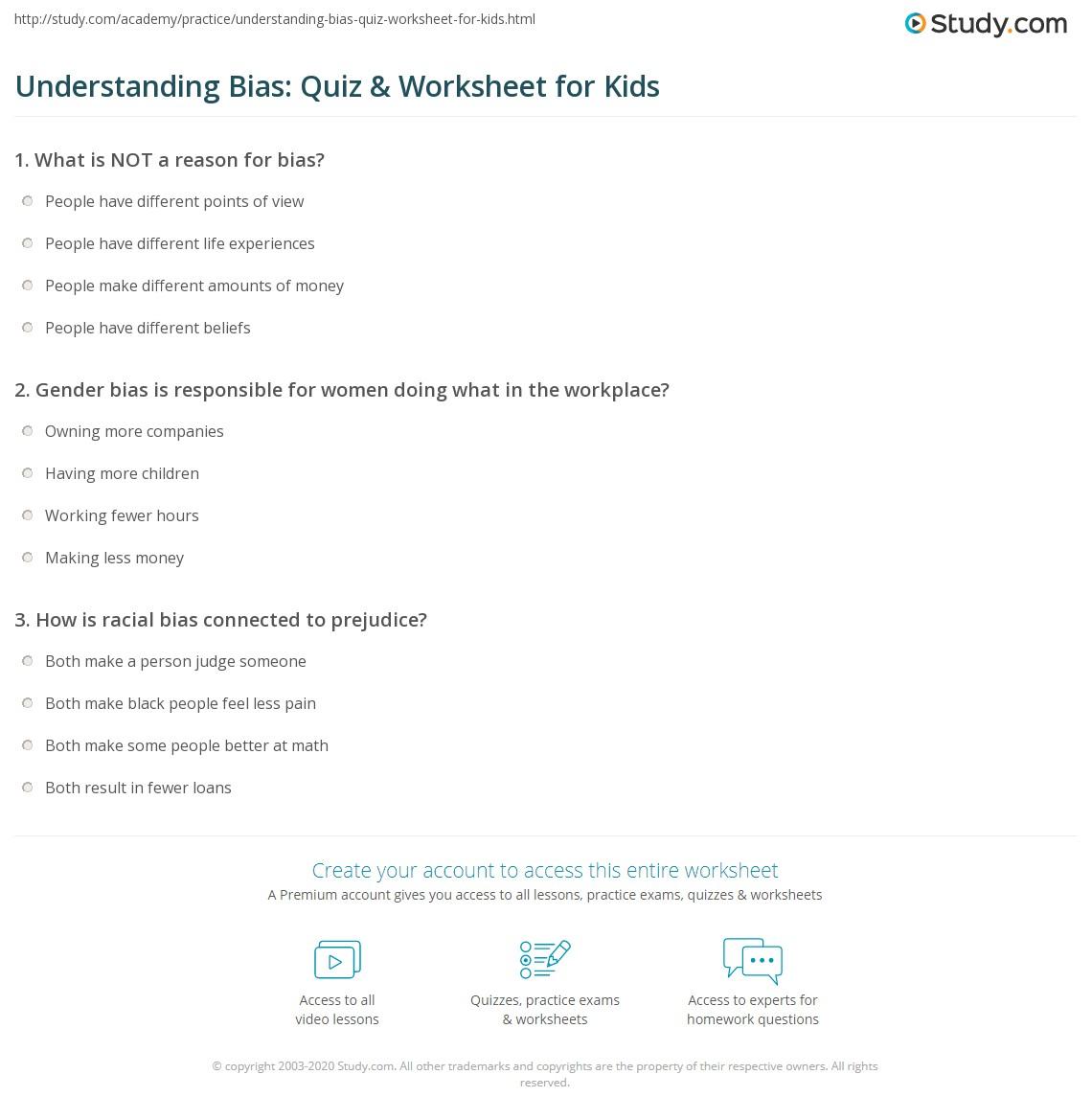 Understanding Bias Quiz Amp Worksheet For Kids