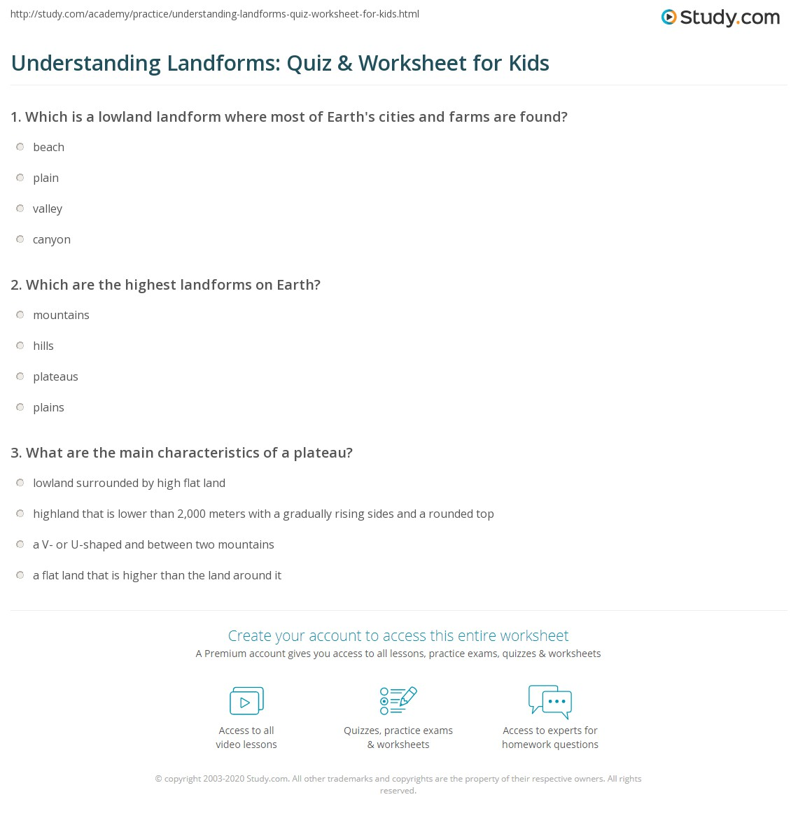 Understanding Landforms Quiz Amp Worksheet For Kids