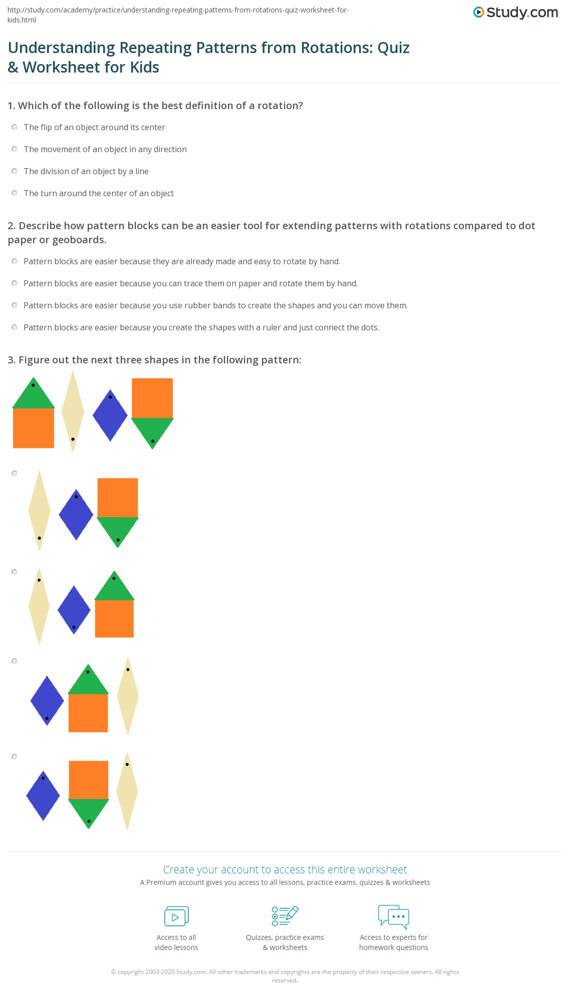 Understanding Repeating Patterns From Rotations Quiz Amp Worksheet For Kids