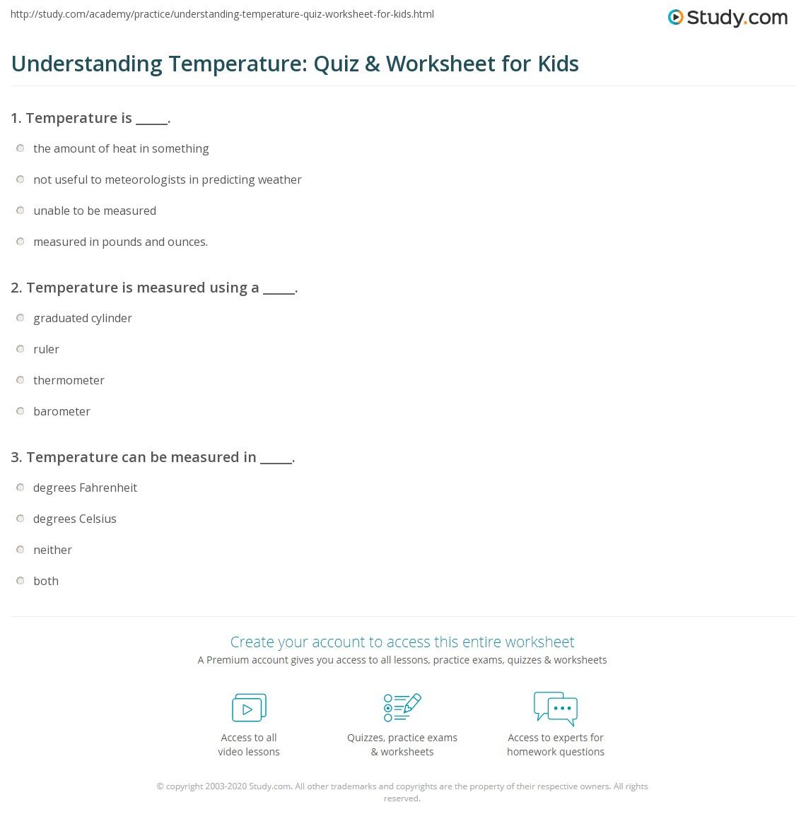 Understanding Temperature Quiz Amp Worksheet For Kids