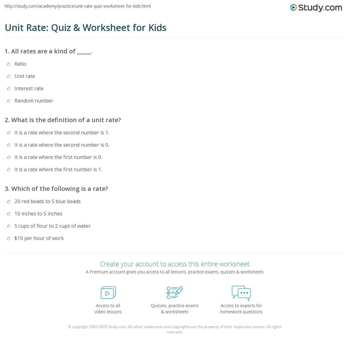Unit Rate Quiz Amp Worksheet For Kids