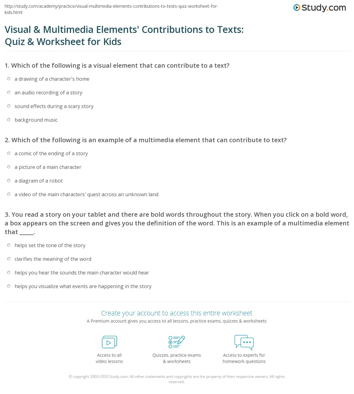 Visual Amp Multimedia Elements Contributions To Texts Quiz